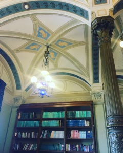 The Hungarian Academy of Science. This is part of the interior in one of the old library rooms, now used as a meeting space.